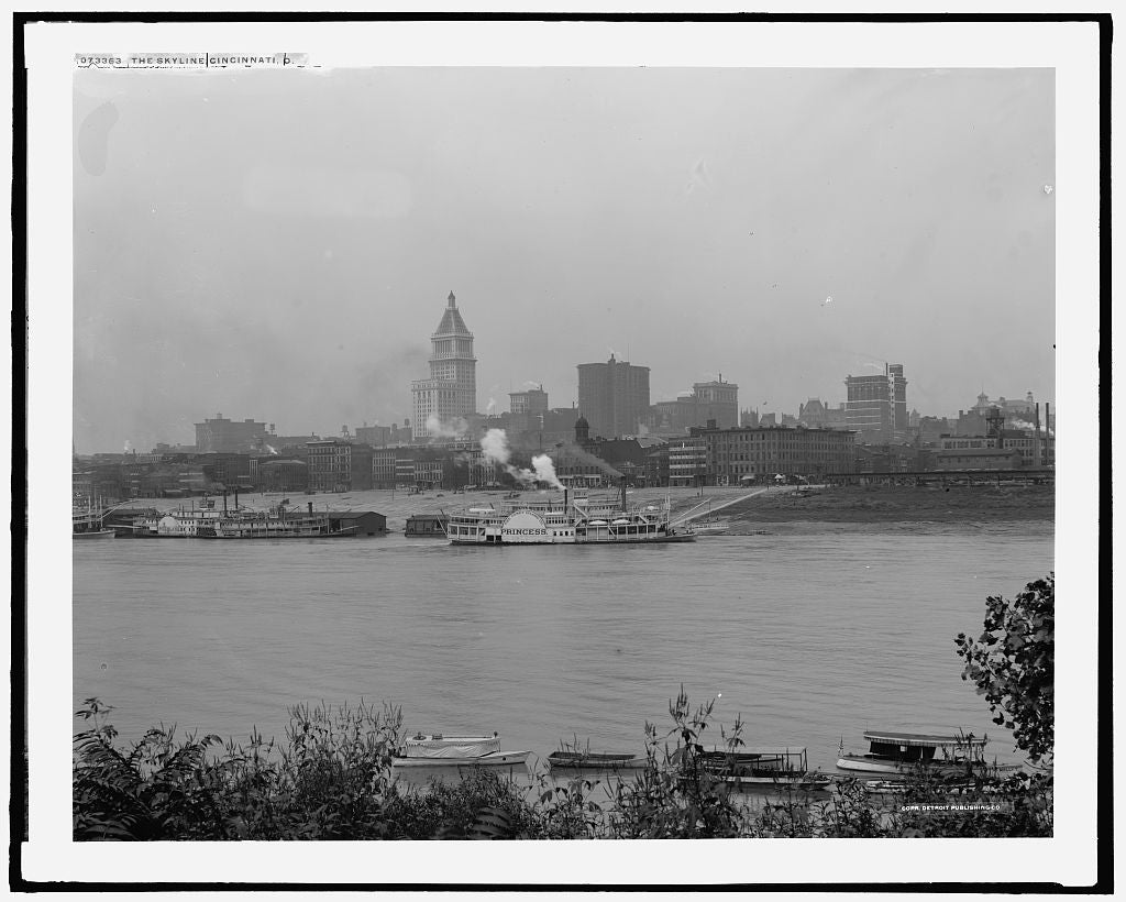 16 x 20 Gallery Wrapped Frame Art Canvas Print of The Skyline Cincinnati Ohio 1915 Detriot Publishing co.  60a