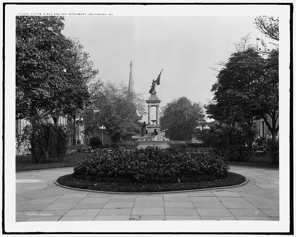 16 x 20 Gallery Wrapped Frame Art Canvas Print of Eutaw Place and Key Monument Baltimore Md  1915 Detriot Publishing co.  25a