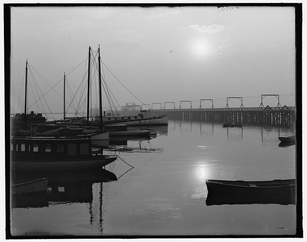 16 x 20 Gallery Wrapped Frame Art Canvas Print of Early morning on the bay St Augustine Fla  1908 Detriot Publishing co.  93a