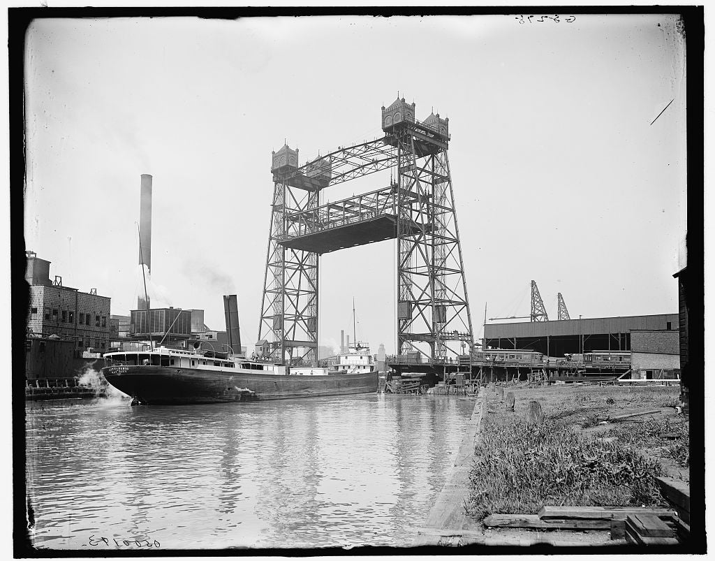 16 x 20 Gallery Wrapped Frame Art Canvas Print of Halstead Street lift bridge Chicago Ill  1910 Detriot Publishing co.  41a