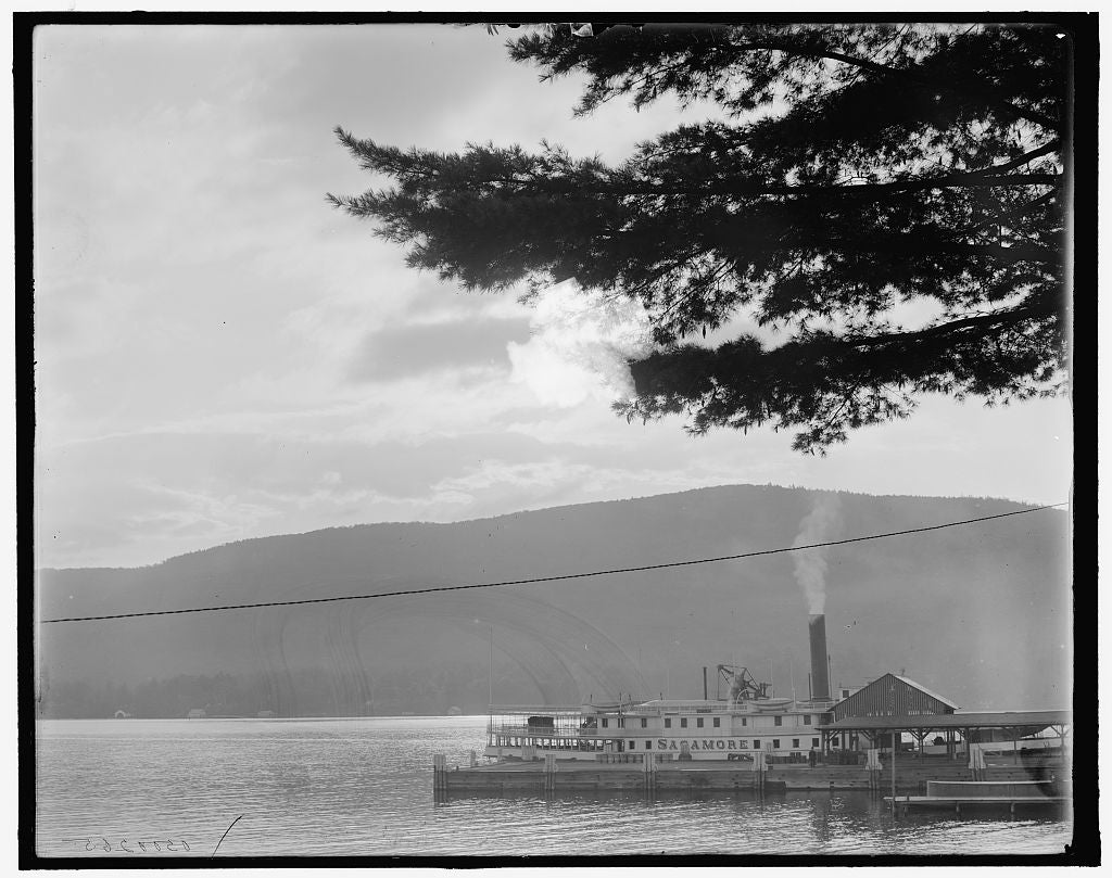 16 x 20 Gallery Wrapped Frame Art Canvas Print of Moonlight from Fort William Henry Hotel Lake George N Y  1910 Detriot Publishing co.  42a