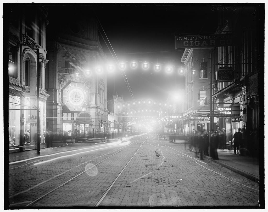 16 x 20 Gallery Wrapped Frame Art Canvas Print of King Street lights at night Charleston S C  1910 Detriot Publishing co.  14a