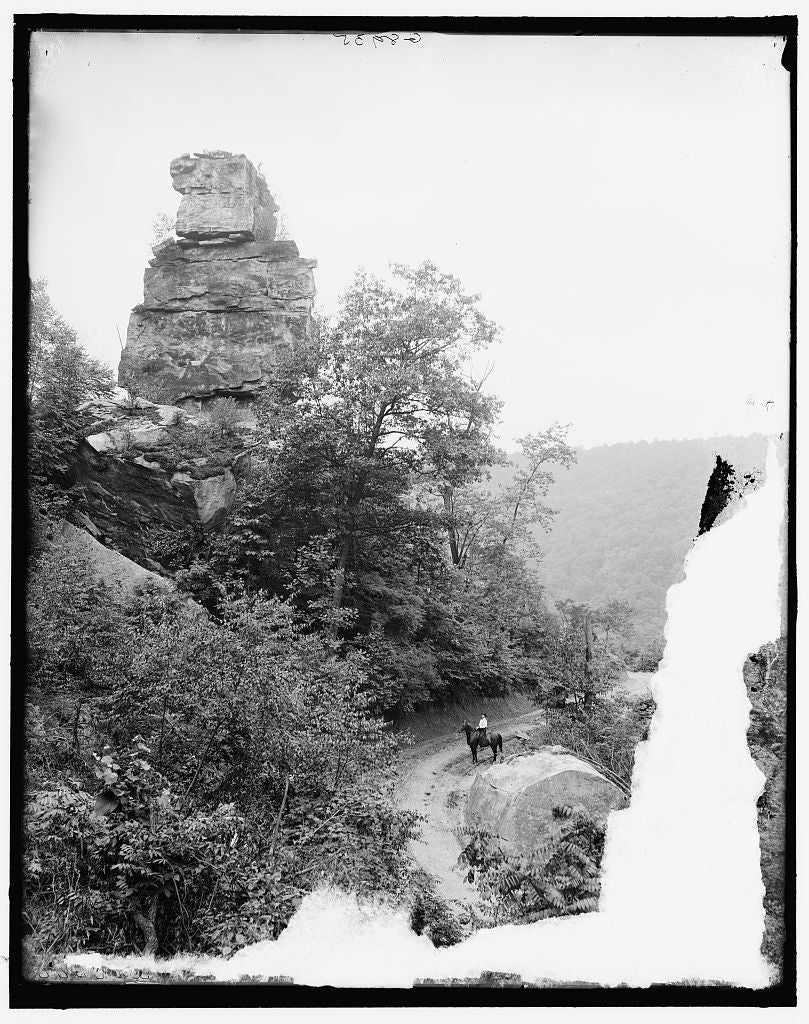 16 x 20 Gallery Wrapped Frame Art Canvas Print of Fayette W Va Chimney Rock & New River canyon near Chesapeake and Ohio Railway 1915 Detriot Publishing co.  39a