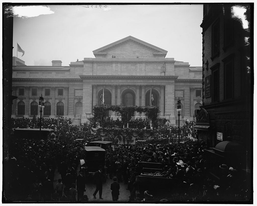 16 x 20 Gallery Wrapped Frame Art Canvas Print of Reviewing Naval parade from New York Public Library New York N Y  1915 Detriot Publishing co.  09a
