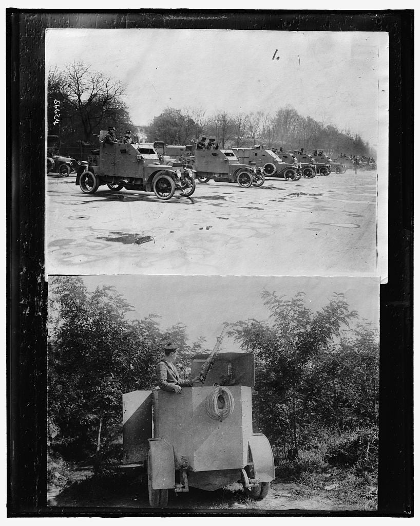 16 x 20 Gallery Wrapped Frame Art Canvas Print of Row of armored cars ; Soldier with weapon in armored car 1917 Detriot Publishing co.  46a