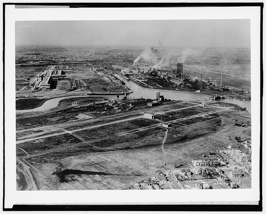 16 x 20 Gallery Wrapped Frame Art Canvas Print of Ford Motor Company River Rouge plant Dearborn air view  1927 Detriot Publishing co.  00a