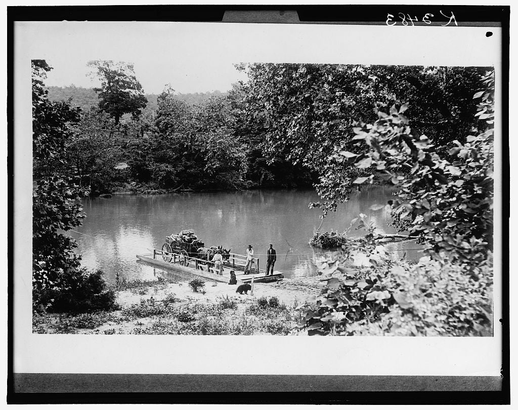 16 x 20 Gallery Wrapped Frame Art Canvas Print of Ferry boat loaded with mule cart at landing 1910 Detriot Publishing co.  48a