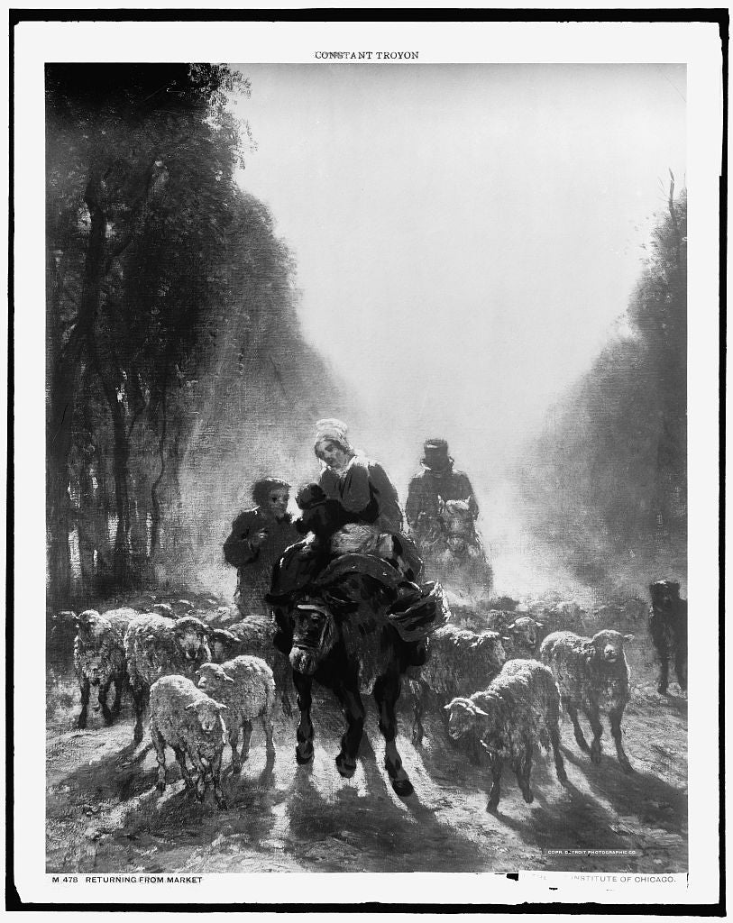 16 x 20 Gallery Wrapped Frame Art Canvas Print of Returning from market 1906 Detriot Publishing co.  66a