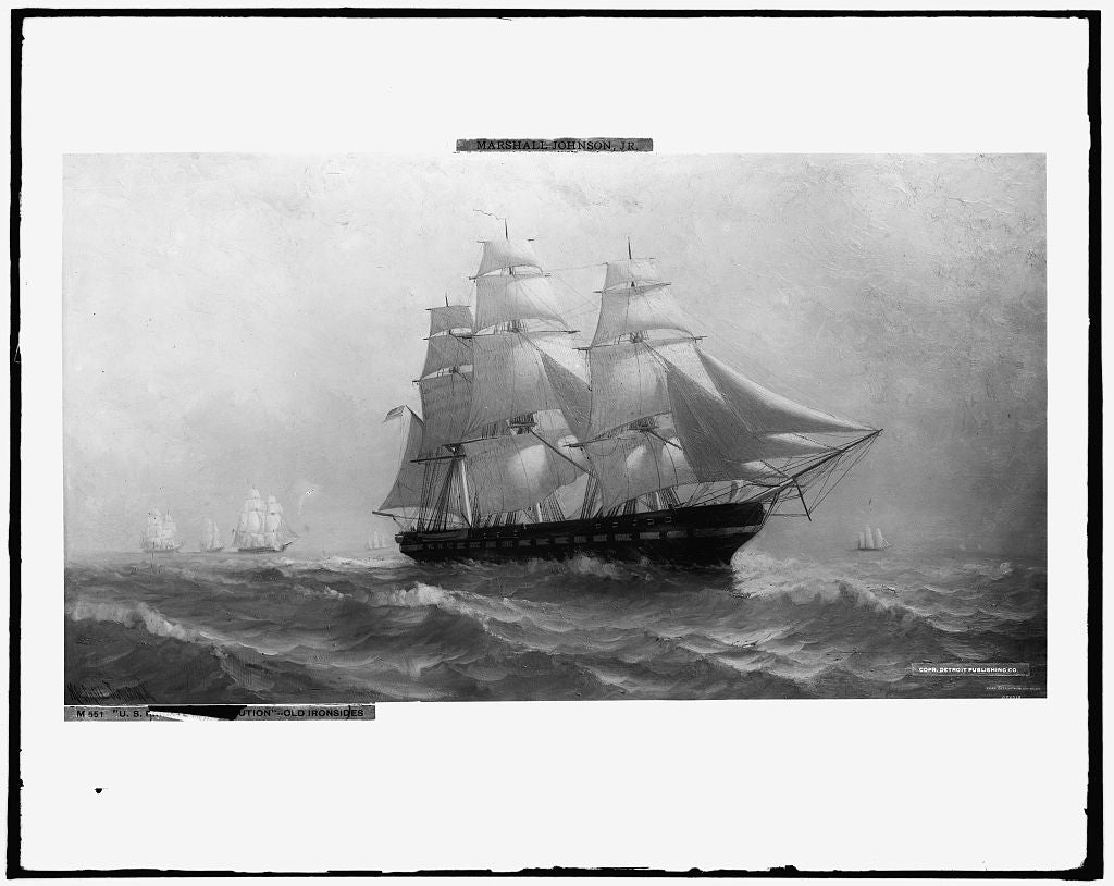 16 x 20 Gallery Wrapped Frame Art Canvas Print of U S frigate Constitution---Old Ironsides 1906 Detriot Publishing co.  42a