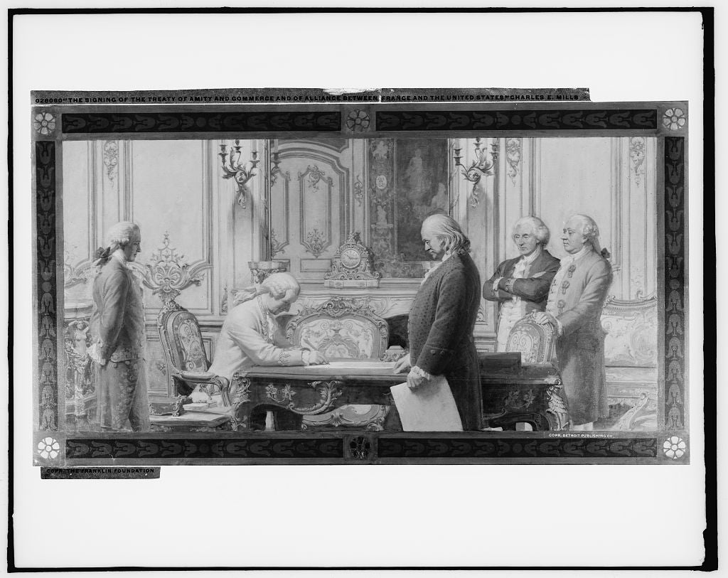 16 x 20 Gallery Wrapped Frame Art Canvas Print of The signing of the Treaty of Amity and Commerce and of Alliance between France and the United States 1910 Detriot Publishing co.  65a