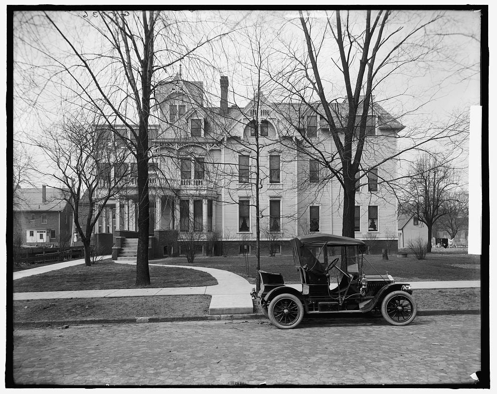 16 x 20 Gallery Wrapped Frame Art Canvas Print of Three-story house with side porch and automobile in front possibly Detroit Michigan  1900 Detriot Publishing co.  61a