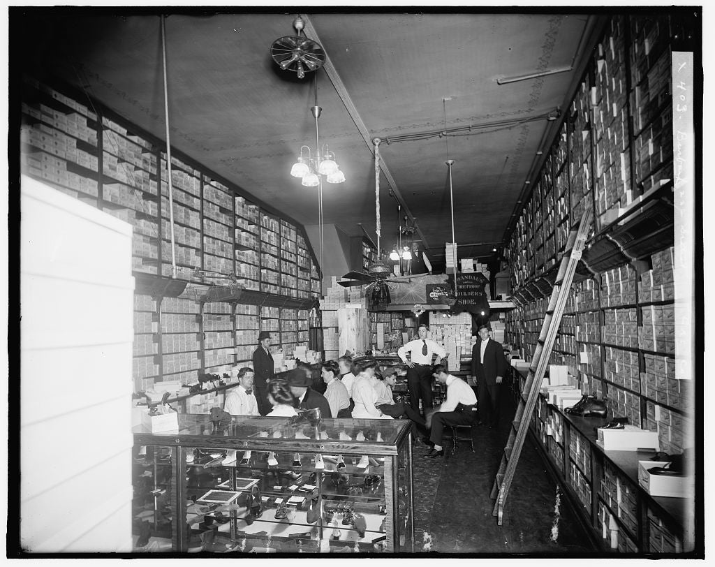 16 x 20 Gallery Wrapped Frame Art Canvas Print of Shoe store interior probably Detroit Mich  1910 Detriot Publishing co.  35a