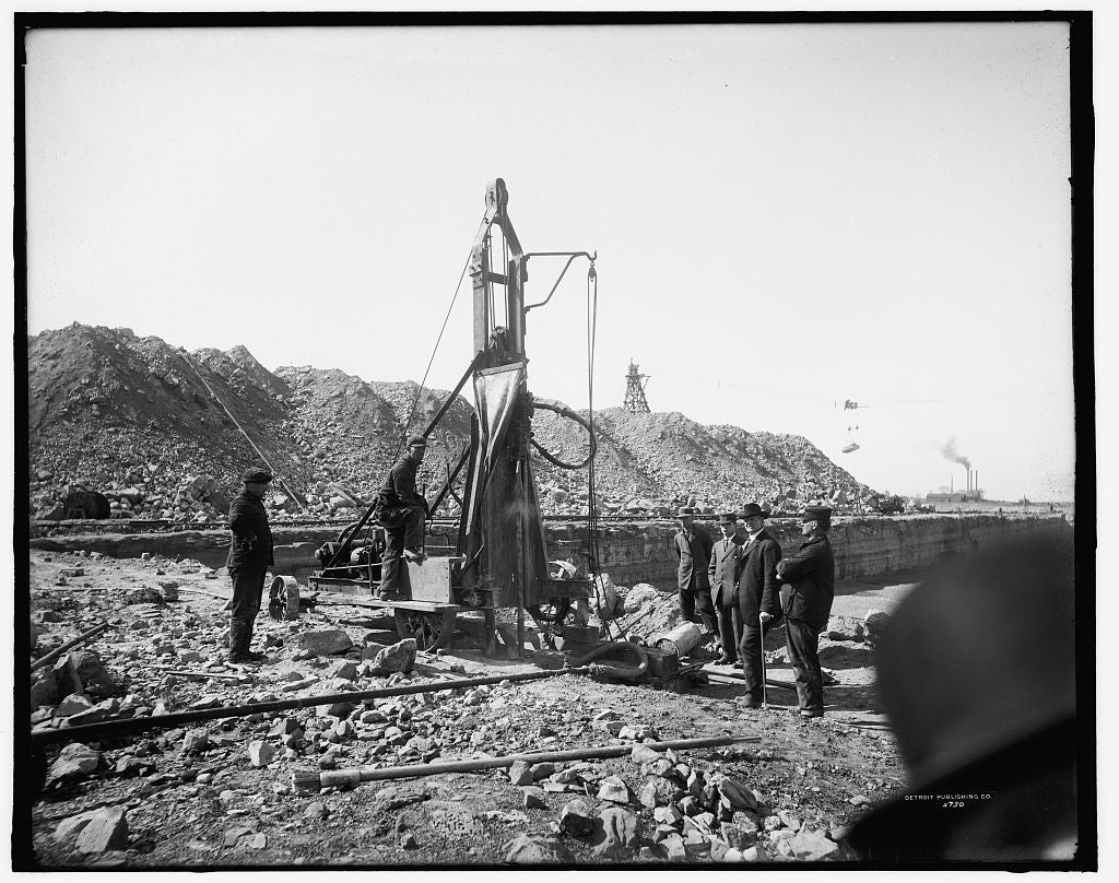 16 x 20 Gallery Wrapped Frame Art Canvas Print of Drilling at store quarry site 1910 Detriot Publishing co.  10a