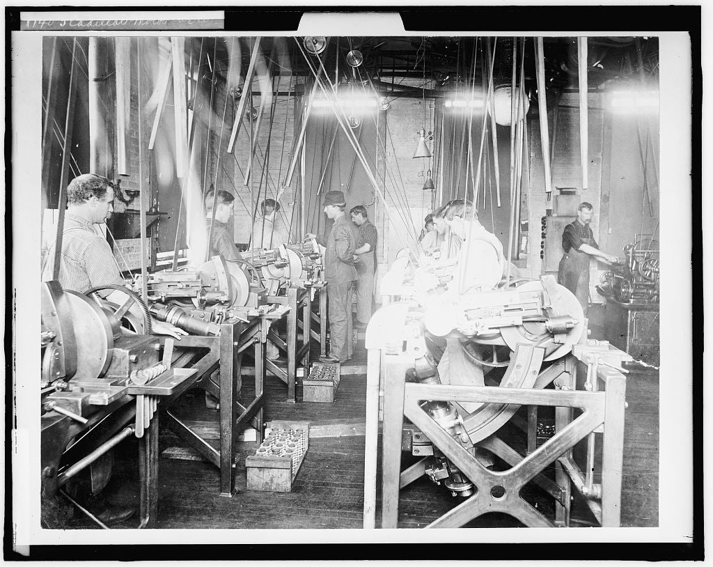 16 x 20 Gallery Wrapped Frame Art Canvas Print of Factory workers assembling engines at Leland & Faulconer Manufacturing Co Detroit Mich  1900 Detriot Publishing co.  51a