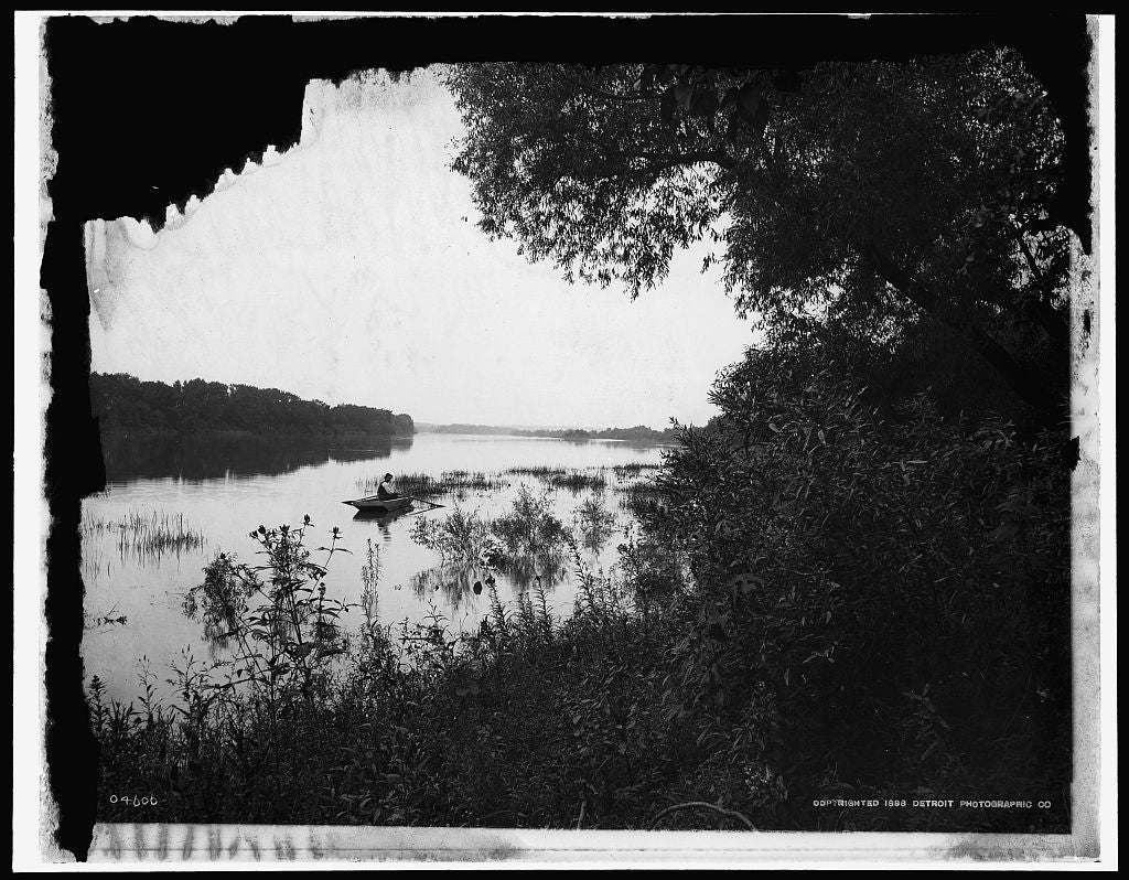 16 x 20 Gallery Wrapped Frame Art Canvas Print of Rock River view near Dixon Dixon Ill  1898 Detriot Publishing co.  42a