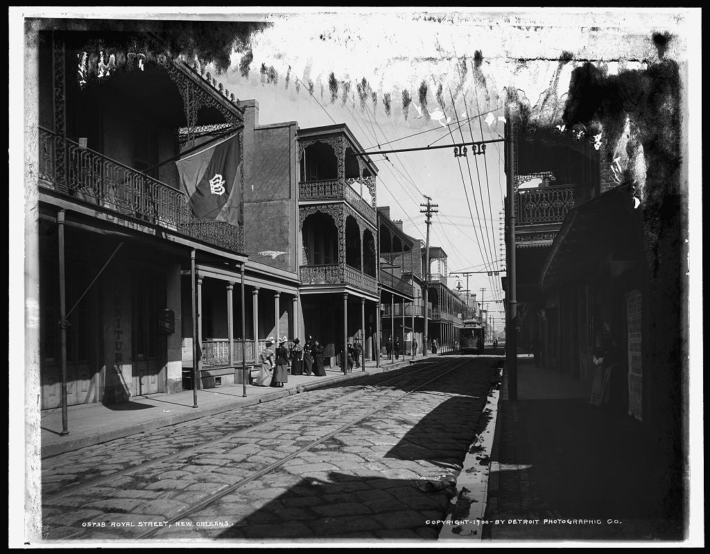 16 x 20 Gallery Wrapped Frame Art Canvas Print of Royal Street New Orleans 1900 Detriot Publishing co.  83a