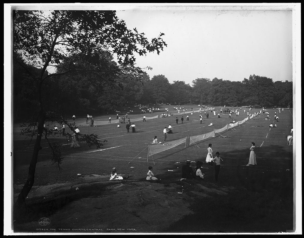16 x 20 Gallery Wrapped Frame Art Canvas Print of The Tennis courts Central Park New York 1904 Detriot Publishing co.  07a