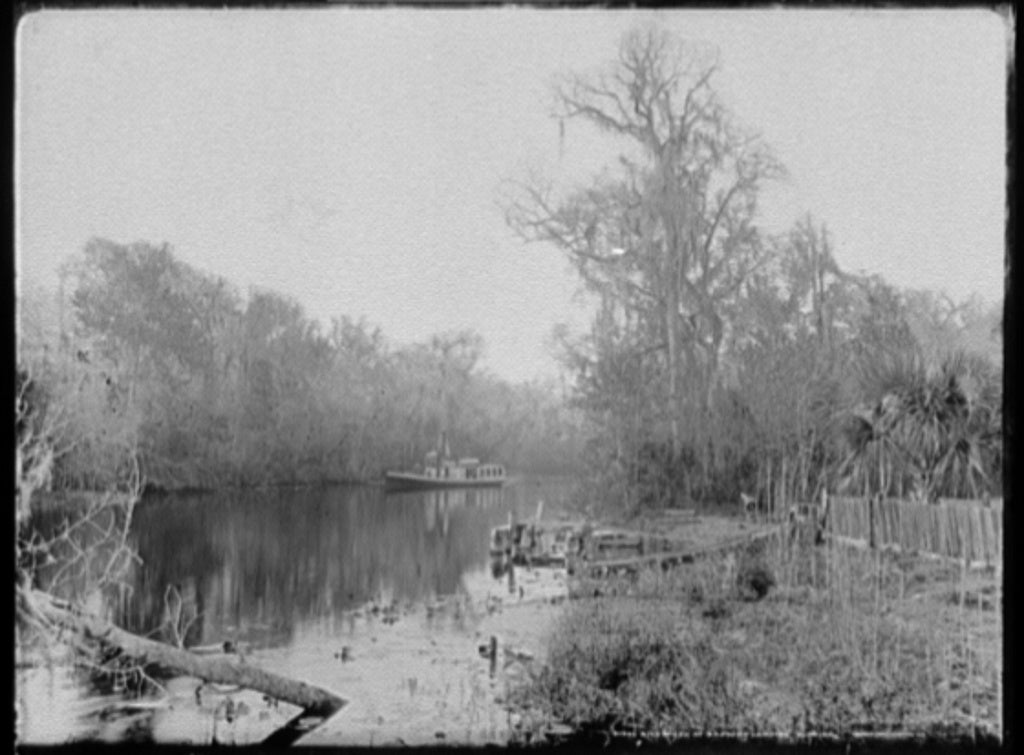 16 x 20 Gallery Wrapped Frame Art Canvas Print of Rice Creek at Brown's Landing Florida 1890 Detriot Publishing co.  89a