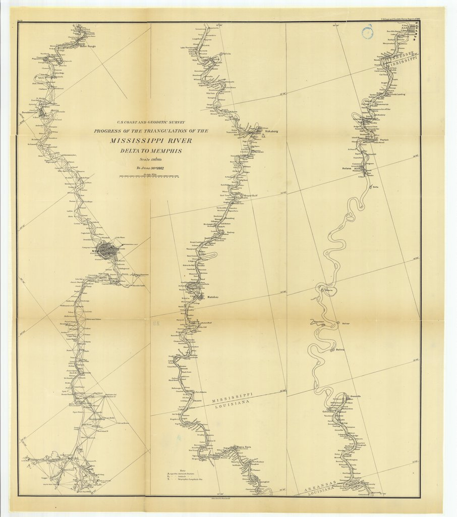 18 x 24 inch 1882 US old nautical map drawing chart of Progress of the Triangulation of the Mississippi River, Delta to Mississippi From  US Coast & Geodetic Survey x260