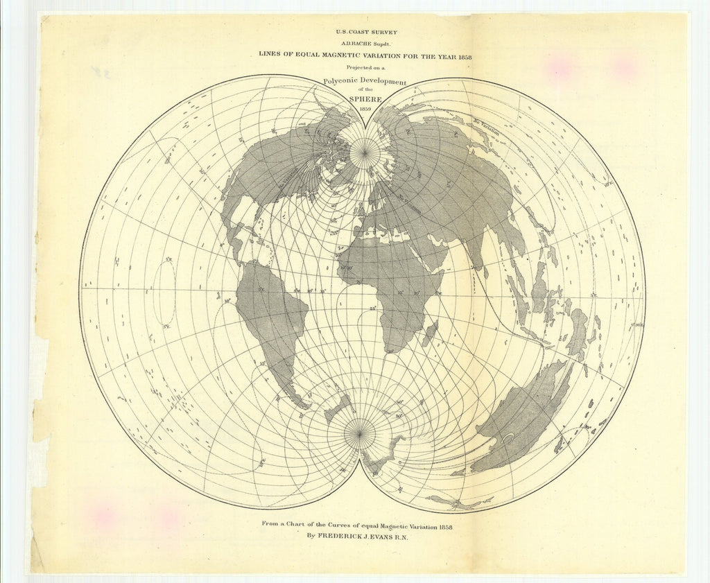 18 x 24 inch 1859 Washington old nautical map drawing chart of Lines of Equal Magnetic Variation for the Year 1858 Projected on a Polyconic Development of the Sphere From  U.S. Coast Survey x11791