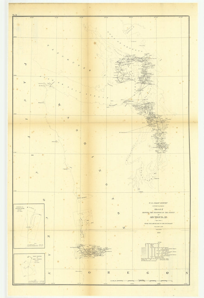 18 x 24 inch 1856 Washington old nautical map drawing chart of Sketch K Showing the Progress of the Survey in Section Number 11, Upper Sheet from Tillamook Bay to the Boundary from 1850 to 1856.. From  U.S. Coast Survey x11244