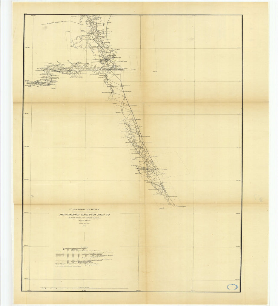 18 x 24 inch 1871 US old nautical map drawing chart of Progress Sketch Section 4, East Coast of Florida, Upper Sheet From  U.S. Coast Survey x2530