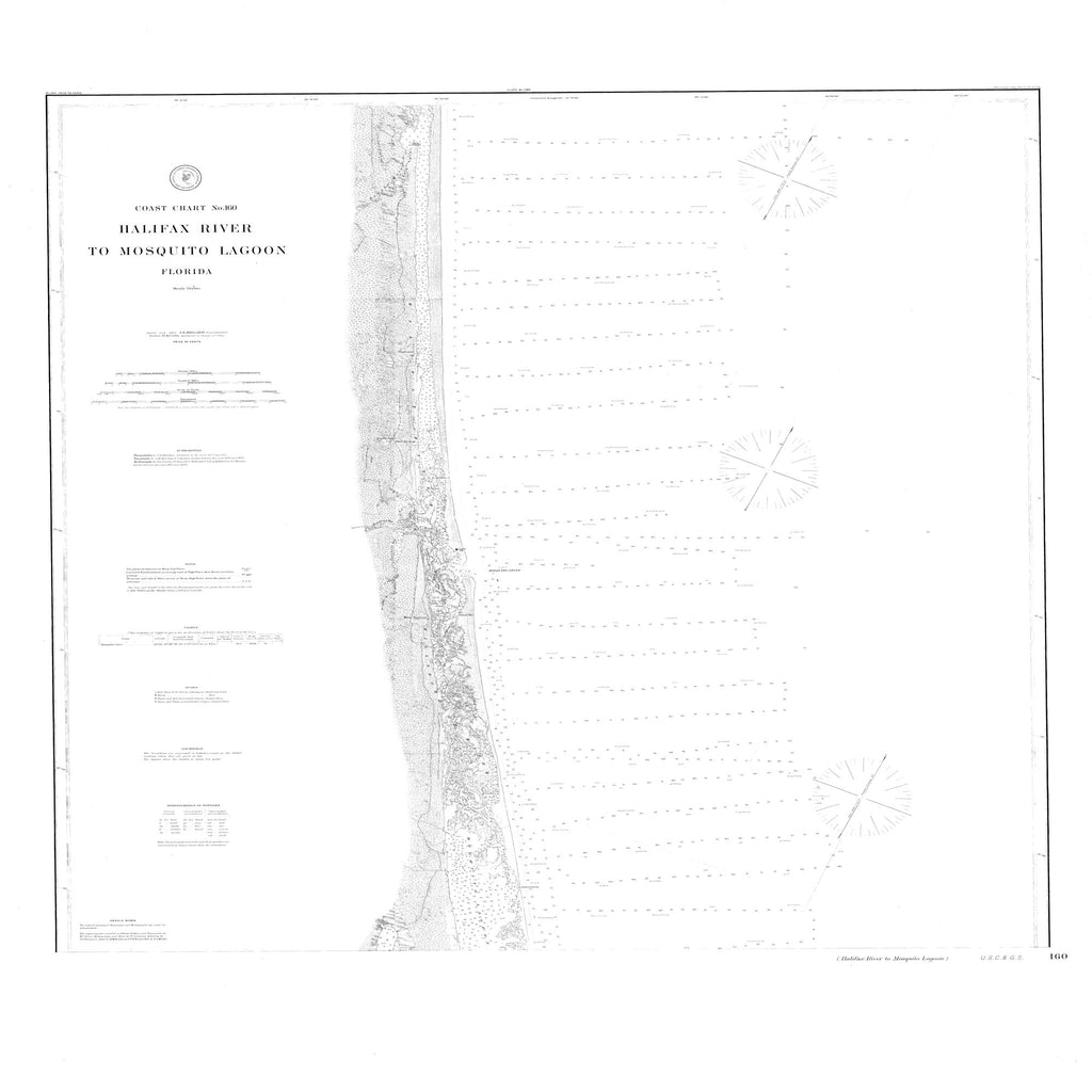 18 x 24 inch 1891 US old nautical map drawing chart of Halifax River to Mosquito Lagoon From  NOAA x2457