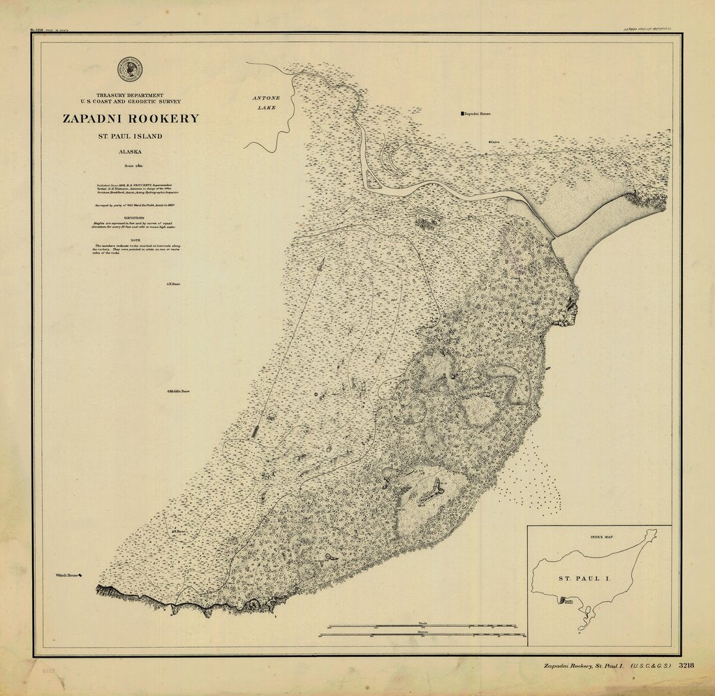 18 x 24 inch 1898 US old nautical map drawing chart of ZAPADNI ROOKERY From  NOAA x6