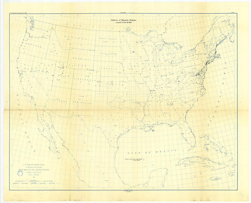 18 x 24 inch 1893 USA old nautical map drawing chart of Map showing positions of magnetic stations occupied.between 1844 and June 30, 1893 From  US Coast & Geodetic Survey x12085