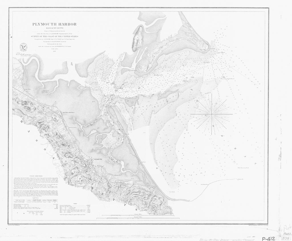 18 x 24 inch 1857 US old nautical map drawing chart of PLYMOUTH HARBOR From  U.S. Coast Survey x2720