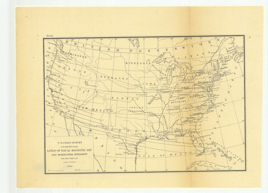 18 x 24 inch 1856 US old nautical map drawing chart of Lines of Equal Magnetic Dip and Horizontal Intensity for the Year 1850 From  U.S. Coast Survey x365