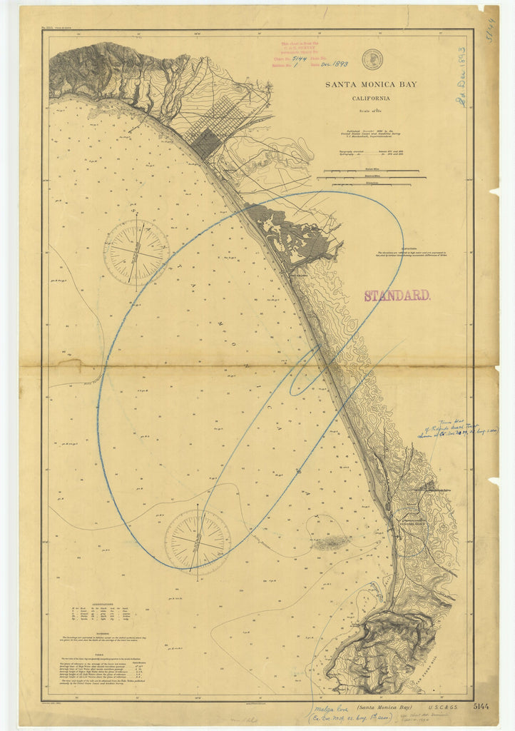 18 x 24 inch 1893 California old nautical map drawing chart of Santa Monica Bay From  US Coast & Geodetic Survey x7361