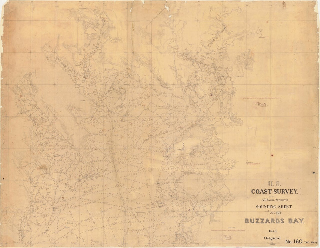 18 x 24 inch 1845 US old nautical map drawing chart of Buzzards Bay From  US Coast & Geodetic Survey x2696
