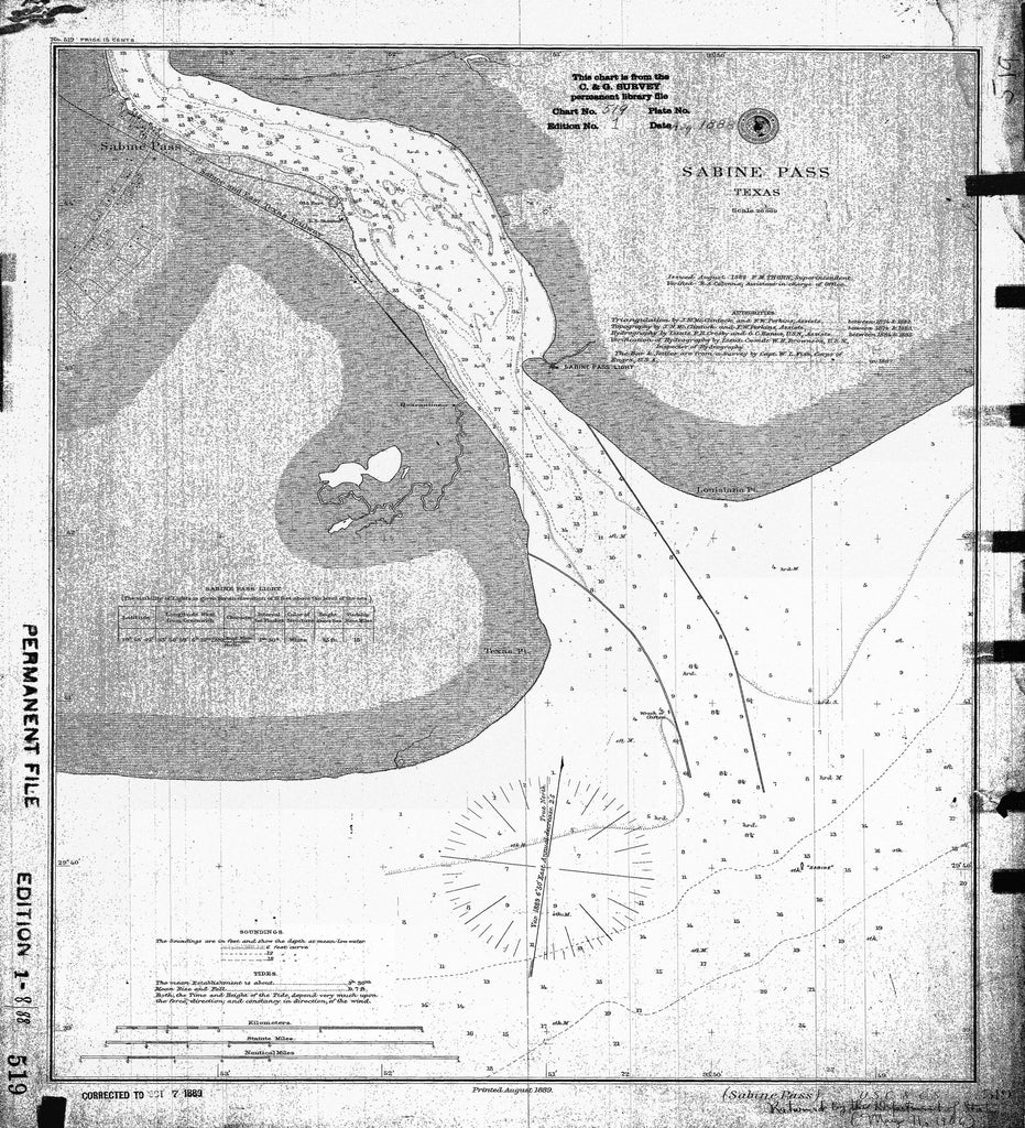 18 x 24 inch 1888 US old nautical map drawing chart of SABINE PASS From  US Coast & Geodetic Survey x2398