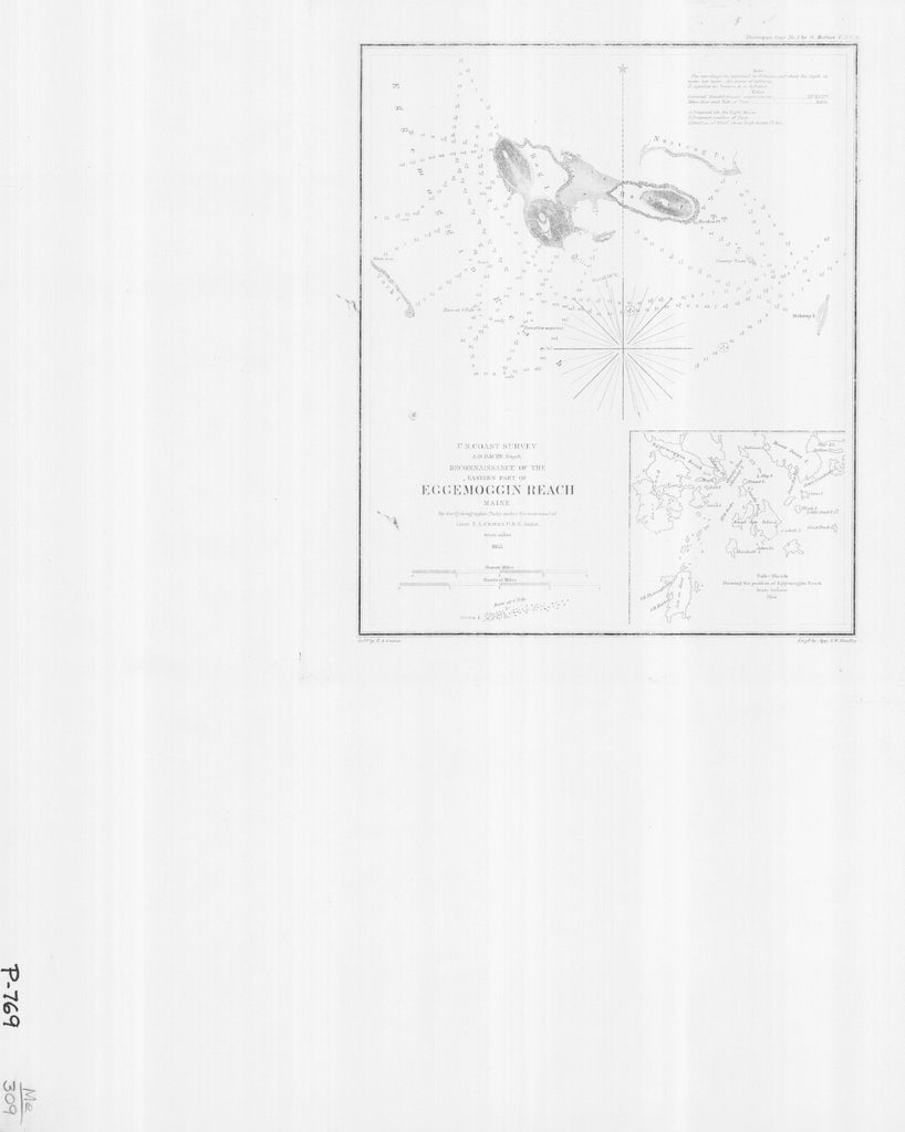 18 x 24 inch 1854 US old nautical map drawing chart of RECONNAISSANCE OF THE EASTERN PART OF EGGEMOGGIN REACH From  U.S. Coast Survey x4801