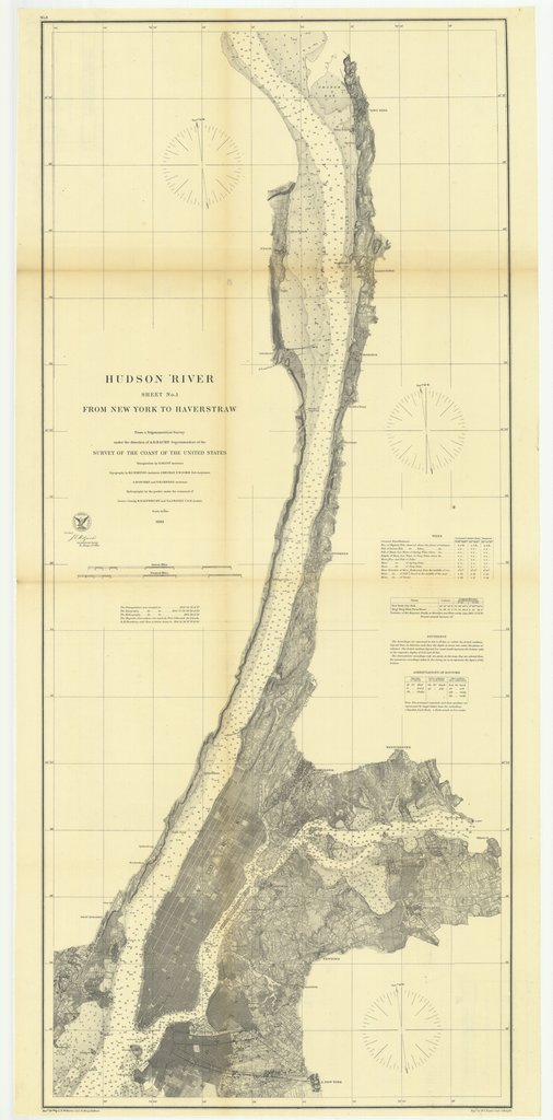 18 x 24 inch 1863 New York old nautical map drawing chart of Hudson River Sheet Number 1 from New York to Haverstraw From  U.S. Coast Survey x7013