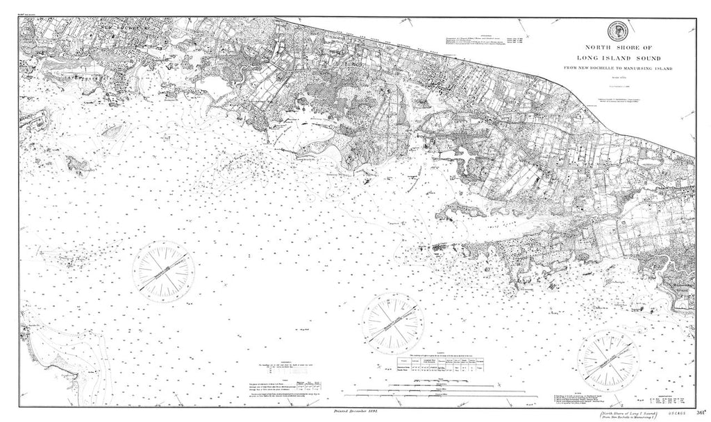 18 x 24 inch 1891 New York old nautical map drawing chart of North Shore of Long Island Sound From  US Coast & Geodetic Survey x6889