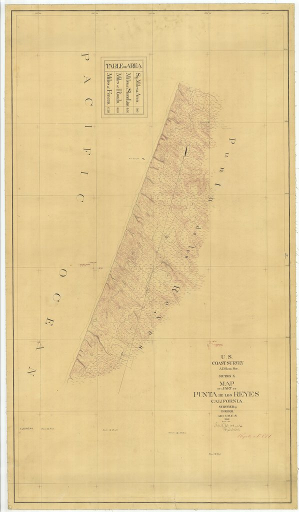 18 x 24 inch 1862 US old nautical map drawing chart of Map of a Part of Punta De Los Reyes From  U.S. Coast Survey x1688