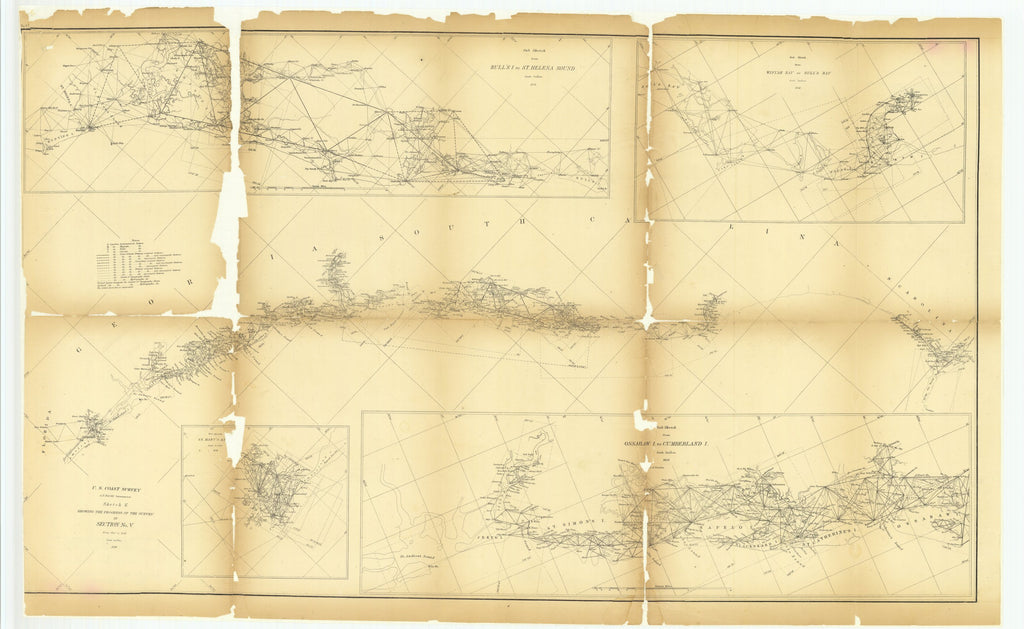 18 x 24 inch 1858 North Carolina old nautical map drawing chart of Sketch E Showing the Progress of the Survey in Section Number 5 from 1847 to 1858 with Sub Sketch of Saint Mary's River and.. From  U.S. Coast Survey x7238