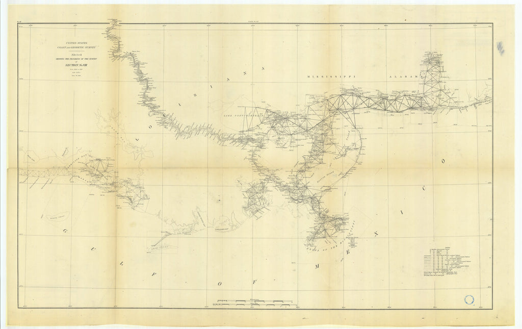 18 x 24 inch 1881 US old nautical map drawing chart of Sketch Showing the Progress of the Survey in Section #8 from 1846 to 1881 From  US Coast & Geodetic Survey x1142