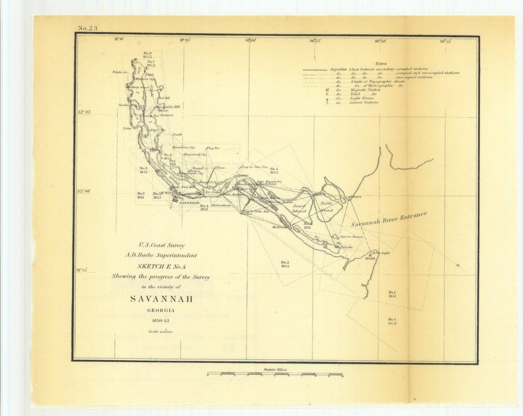 18 x 24 inch 1853 US old nautical map drawing chart of Sketch E Number 4 Showing the Progress of the Survey in the Vicinity of Savannah, Georgia From  U.S. Coast Survey x608