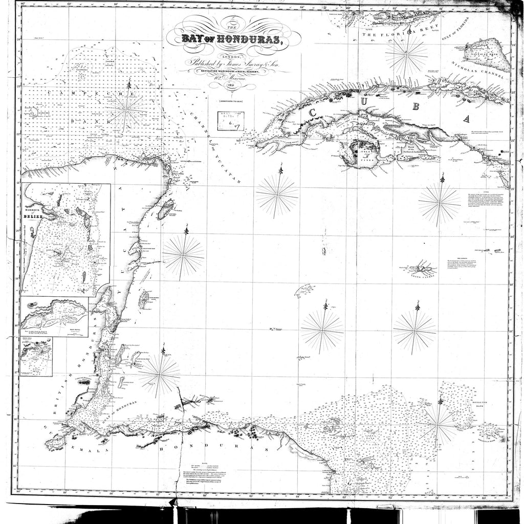 18 x 24 inch 1851 OTHER old nautical map drawing chart of The Bay of Honduras From  James Imray & Sons x7932
