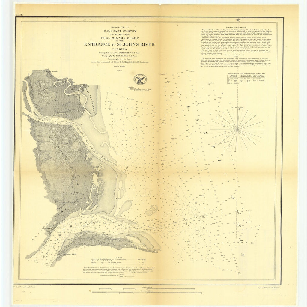 18 x 24 inch 1853 US old nautical map drawing chart of Preliminary Chart of the Entrance to Saint John's River, Florida From  U.S. Coast Survey x1319