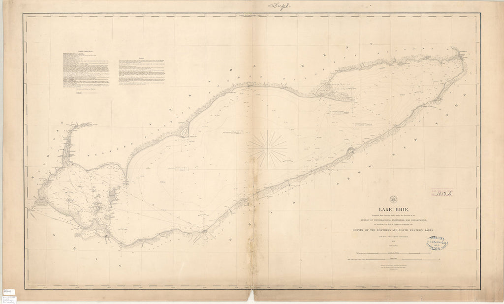 18 x 24 inch 1849 New York old nautical map drawing chart of LAKE ERIE From  Lake Survey x7670