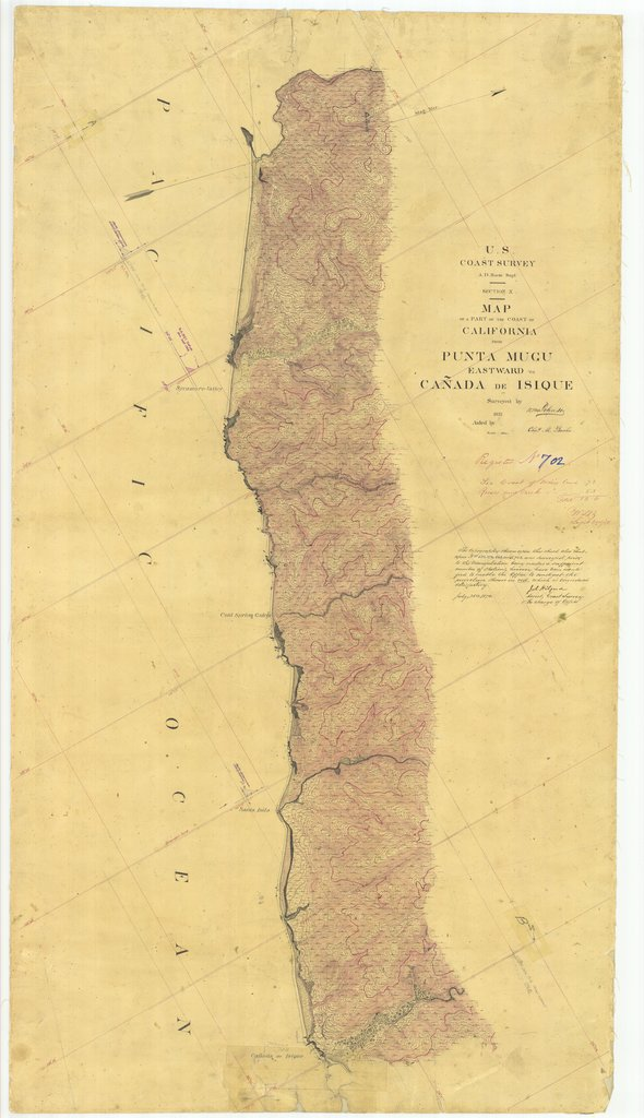 18 x 24 inch 1857 US old nautical map drawing chart of From Punta Mugu Eastward to Canada De Isique, CA From  U.S. Coast Survey x1667