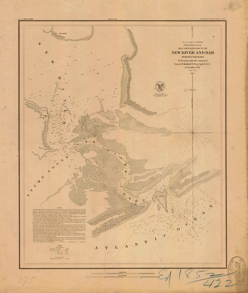 18 x 24 inch 1852 US old nautical map drawing chart of RECONNAISSANCE OF NEW RIVER AND BAR From  U.S. Coast Survey x5483