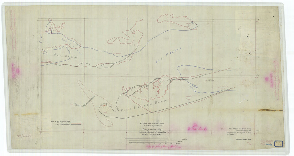 18 x 24 inch 1888 New York old nautical map drawing chart of Comparative Map Showing Changes of Shore-Line at Fire Island Inlet From  US Coast & Geodetic Survey x6881