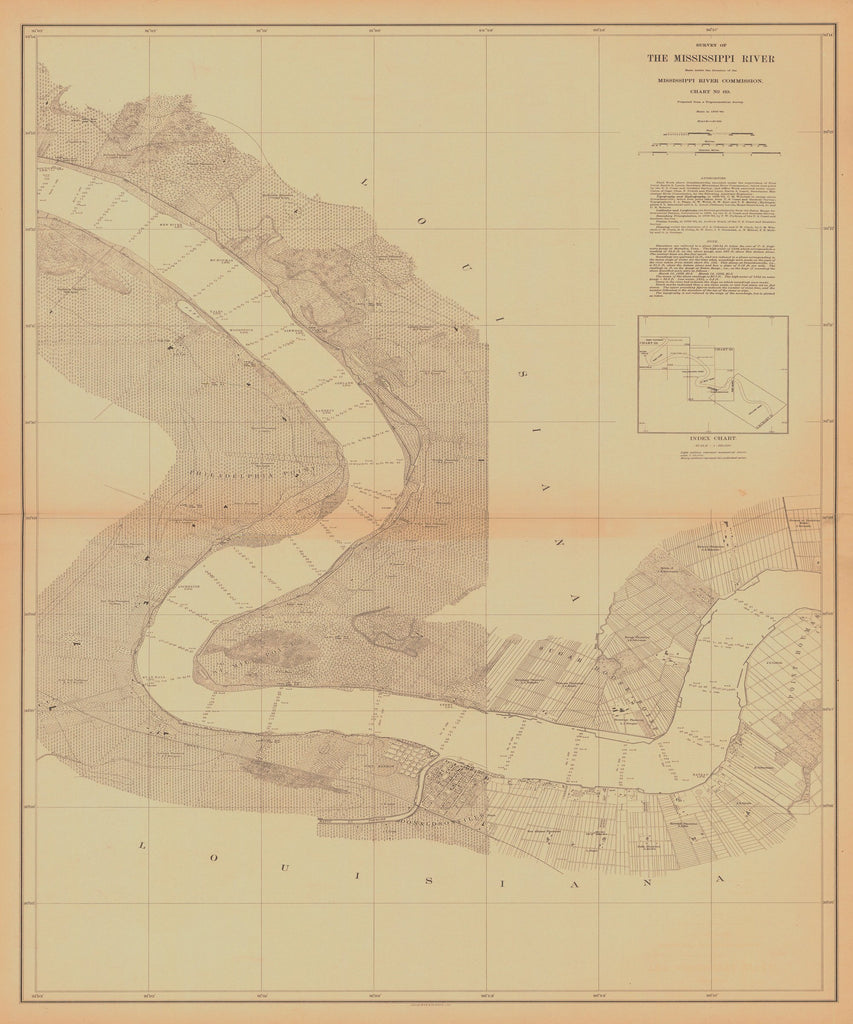 18 x 24 inch 1880 US old nautical map drawing chart of SURVEY OF THE MISSISSIPPI RIVER From  Mississippi River Commission x2369