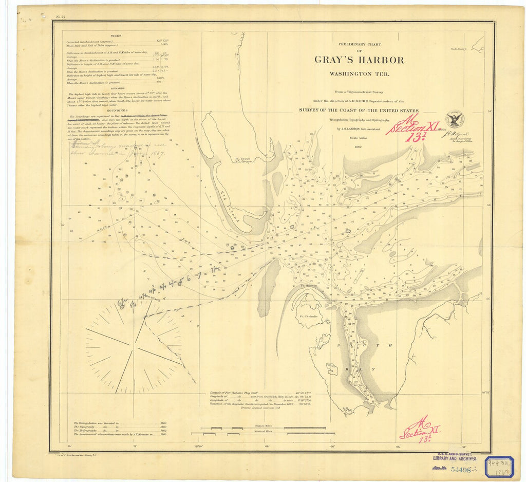 18 x 24 inch 1862 Washington old nautical map drawing chart of Preliminary Chart of Grays Harbor Washington Ter. From  US Coast & Geodetic Survey x10704