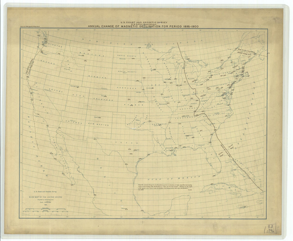 18 x 24 inch 1896 US old nautical map drawing chart of Annual Change of Magnetic Declination for Period 1895 - 1900 From  US Coast & Geodetic Survey x1872